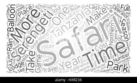 How To Plan For A Serengeti Safari text background word cloud concept - Stock Photo