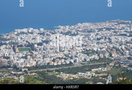 Kyrenia, (Girne) in Northern Cyprus viewed from near St Hilarion Castle. - Stock Photo