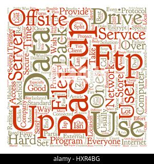Offsite Backup Benefits And Threats Unveiled text background word cloud concept - Stock Photo
