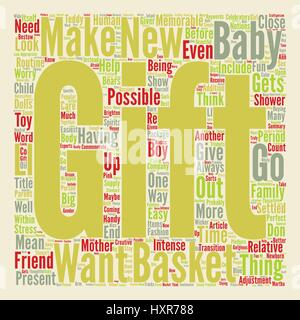 A Baby Gift Basket Can Be A Perfect Present text background word cloud concept - Stock Photo