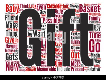 A Baby Gift Basket Can Be A Perfect Present Word Cloud Concept Text Background - Stock Photo