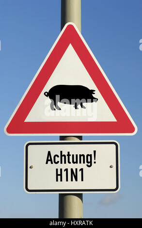 Traffic signs pork influenza (assembly), Verkehrszeichen Schweinegrippe (Montage) - Stock Photo