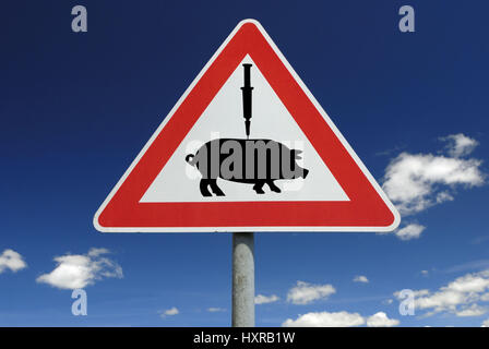 Traffic signs vaccination against pork influenza (assembly), Verkehrszeichen Impfung gegen Schweinegrippe (Montage) - Stock Photo