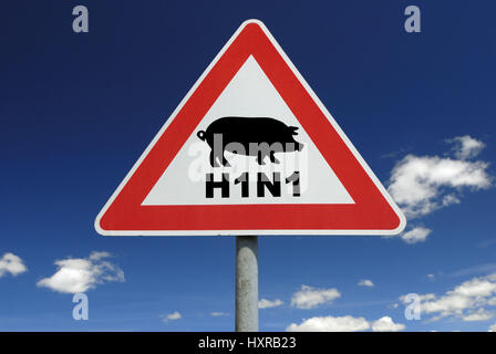 Traffic signs pork influenza (assembly), Verkehrszeichen Schweinegrippe (Montage) - Stock Photo