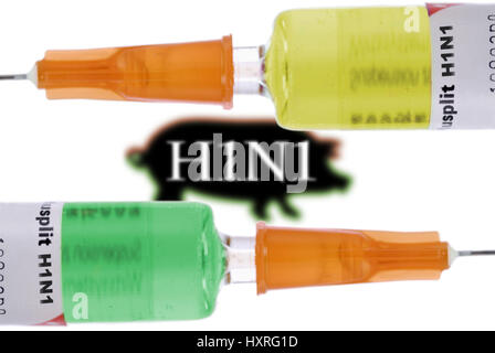Vaccines against the pork influenza, Impfstoffe gegen die Schweinegrippe - Stock Photo