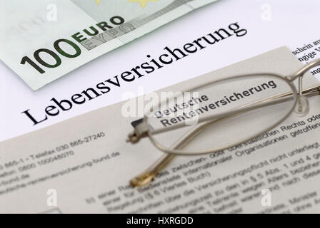 Life insurance, life insurances, old-age provisions, assurance, assurances, capital, security, insured sum, money, - Stock Photo