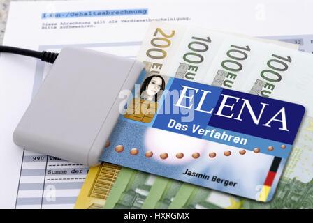 Elena, electronic income proof (picture assembly), elektronischer Einkommensnachweis (Bildmontage) - Stock Photo