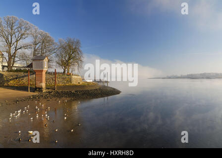 In the Zollenspieker ferry boat-house, wall of fog over the Elbe in Kirchwerder, Hamburg, Germany, Europe, Am Zollenspieker - Stock Photo