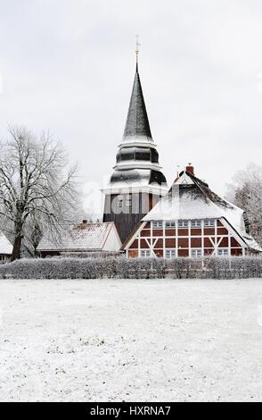 Church Saint Johannis in Curslack, 4 and marshy land, Hamburg, Germany, Kirche St. Johannis in Curslack, Vier- und - Stock Photo
