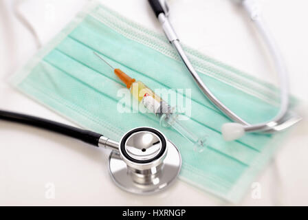 Vaccination against the pork influenza, Impfung gegen die Schweinegrippe - Stock Photo