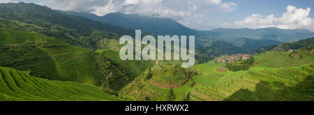 longji rice terraces dazhai village - Stock Photo
