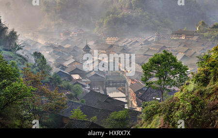 Zhaoxing Dong Village, Guizhou Province, China -  April 9, 2010: Ancient mountain village of Dong ethnic minority - Stock Photo