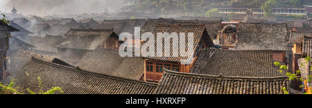 Zhaoxing Village, Guizhou Province, China -  April 9, 2010: Liping County, Qiandongnan Miao and Dong Autonomous - Stock Photo