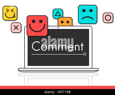 Customer evaluation feedback smiley emoticons - Stock Photo