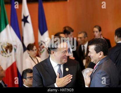 San Jose, Costa Rica. 29th Mar, 2017. Panama's President Juan Carlos Varela (F) attends the 16th Tuxtla Summit of - Stock Photo