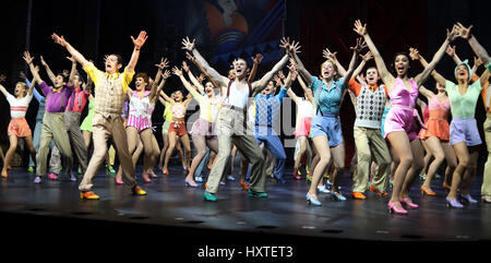 London, UK. 30th Mar, 2017. Pic shows: 42nd Street show at Theatre Royal Drury Lane ensemble cast line up Pic by - Stock Photo