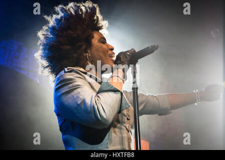 Milan, Italy. 29th Mar, 2017. The American singer-songwriter MACY GRAY performs live on stage at Alcatraz to present - Stock Photo