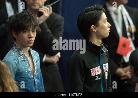 (L-R) Shoma Uno, Yuzuru Hanyu (JPN), MARCH 30, 2017 - Figure Skating : Shoma Uno and Yuzuru Hanyu of Japan warm - Stock Photo