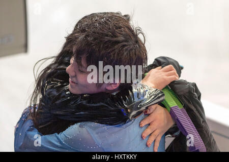 Shoma Uno (JPN), MARCH 30, 2017 - Figure Skating : Shoma Uno of Japan hugs with his coach after performing during - Stock Photo