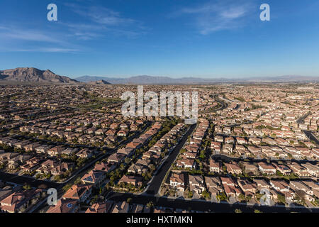 Aerial view of the suburban Summerlin neighborhood in Las Vegas, Nevada. - Stock Photo