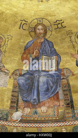 The icon on the dome with the image of Jesus Christ on a gold background in the basilica of Saint Paul Outside the - Stock Photo