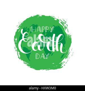 Happy Earth day brush pen handwritten lettering. April 22. Modern vector hand drawn calligraphy with brush texture - Stock Photo