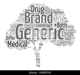 Cheap Generic Drugs Or Expensive Branded Ones Word Cloud Concept Text Background - Stock Photo