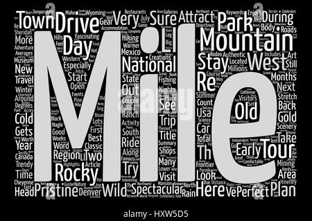 Classic Drives The Rocky Mountains Adventure Tour text background word cloud concept - Stock Photo