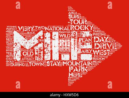 Classic Drives The Rocky Mountains Adventure Tour Word Cloud Concept Text Background - Stock Photo