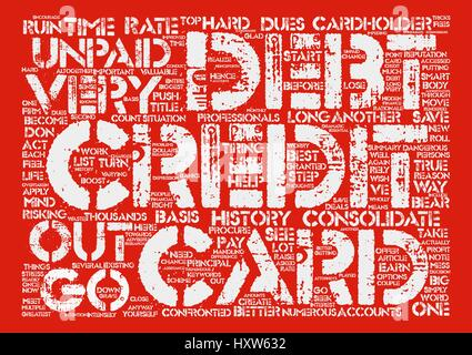 Credit Card Debt Why Consolidate It Word Cloud Concept Text Background - Stock Photo