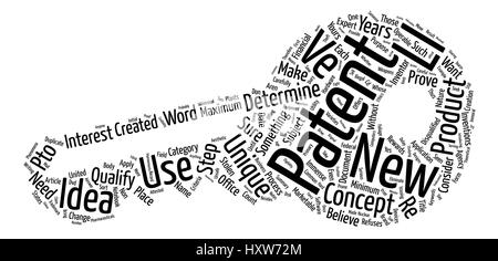 Does Your New Product Qualify For A Patent Word Cloud Concept Text Background - Stock Photo