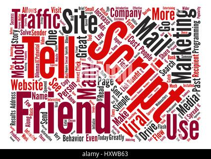 How To Use A Tell A Friend Script text background word cloud concept - Stock Photo