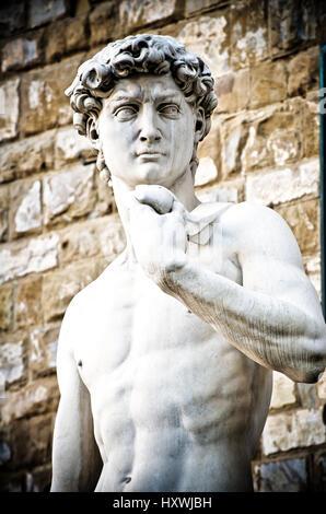 Michelangelo's David Portrait, Statue in Florence - Stock Photo