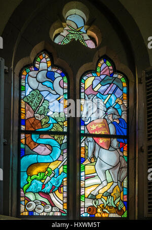 Stained Glass window of St George and the dragon in the ...