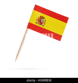 Miniature paper flag Spain. Isolated Spanish Flag on white background.With shadow below - Stock Photo