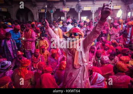 BARSANA - MAR 05, 2017: Holi celebrations in the ancient city of Barsana, Mathura in India. - Stock Photo