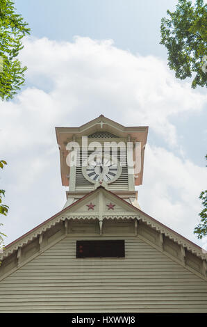 Sapporo city clock tower in summer at hokkaido - Stock Photo