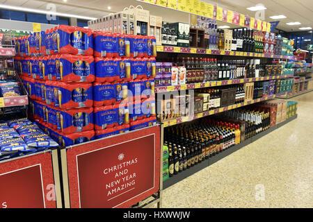 Beer on Sale in Aldi Supermarket - Stock Photo