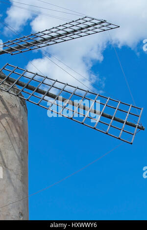 Windmill detail on a sunny day with blue sky in Mallorca, Balearic islands, Spain. - Stock Photo