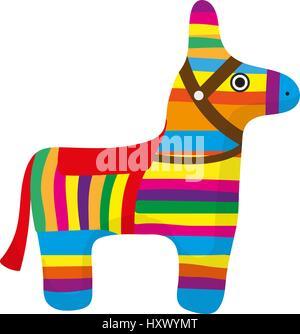Pinata icon, flat style. Donkey colorful. Isolated on white background. Vector illustration, clip-art. - Stock Photo