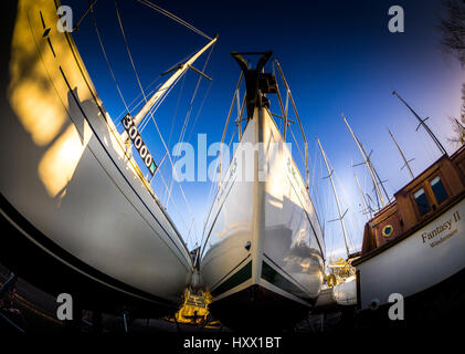 Boats in storage - Bowness-on-Windermere - Stock Photo