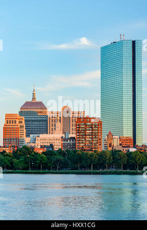 Skyline (200 Clarenton, formerly known as Hancock Tower in glass) and Charles River, Boston, Massachusetts USA - Stock Photo