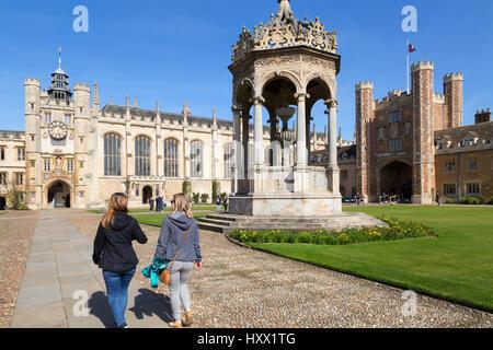 Trinity College Cambridge - People walking in Great Court, Trinity College, Cambridge University, Cambridge UK - Stock Photo