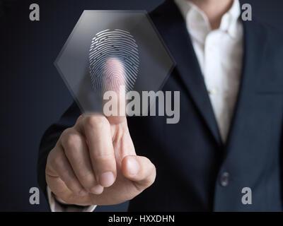 Businessman pressing modern technology display panel fingerprint - Stock Photo