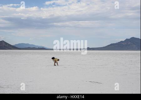 Salt Desert, Bonneville, Utah - Stock Photo