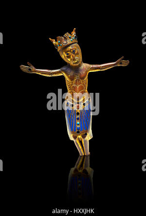 Limoges enamel figure of Christ from a Gothic Crucifix, c. 1200-1220. Copper engraving with Champlevé enamelling. - Stock Photo