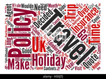 Travel Insurance Is It Necessary For A UK Based Holiday Word Cloud Concept Text Background - Stock Photo