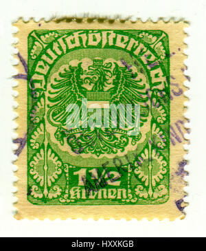 GOMEL, BELARUS, 30 MARCH 2017, Stamp printed in Austria shows image of the coat of arms of Austria, circa 1930 - Stock Photo