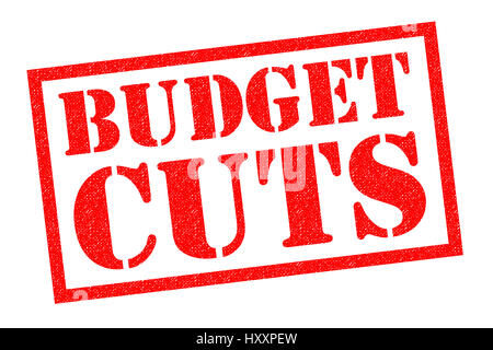BUDGET CUTS red Rubber Stamp over a white background. - Stock Photo