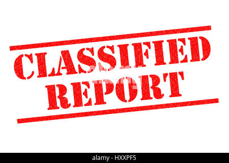 CLASSIFIED REPORT red Rubber Stamp over a white background. - Stock Photo